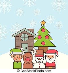 santa helper deer snowman cartoon house and tree pine decoration