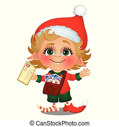 Santa helper delivers mail isolated on white background. Sample of poster, party holiday invitation, festive card. Vector cartoon close-up illustration.