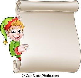 Santa Helper Elf Christmas Scroll