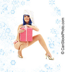 santa helper girl on high heels with snowflakes #3