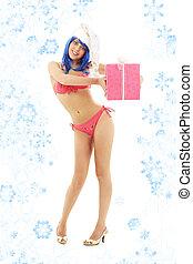 santa helper girl on high heels with snowflakes