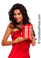 santa helper girl on white background with long hair and red...