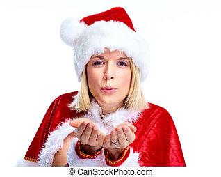 Santa helper girl. - Happy santa helper woman. Isolated over...