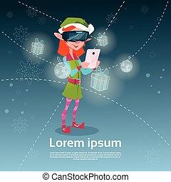 Santa Helper Green Elf Girl Wear Digital Glasses Use Smart...