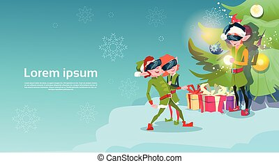 Santa Helper Green Elf Group Wear Digital Glasses Virtual Reality Merry Christmas Happy New Year