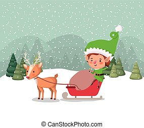 santa helper with carriage and reindeer snowscape vector...