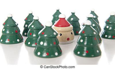 Santa Hiding Among the Trees