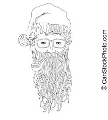 Santa hipster, coloring page for children and adults