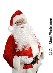 "Santa Ho Ho Ho - Traditional Santa Claus giving a big ""ho ho..."