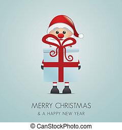 santa hold gift box with red ribbon