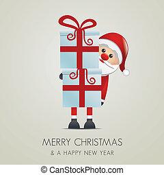 santa hold gift with red ribbon