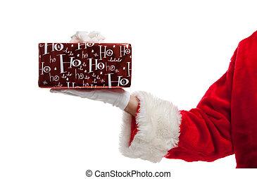Santa holding a Christmas present