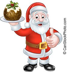 Santa Holding a Christmas Pudding