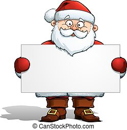 Illustration of a Santa Claus holding a label. The EPS v.10 has 3 layers, 1. head, 2. solders, hands & label, 3. Coat, Legs & floor shadow. You can switch off the lower part and have the label as long as you like.