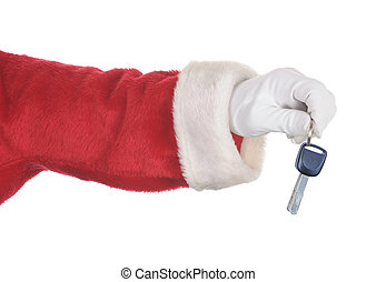 Santa Holding a set of Car keys isolated over white. Hand and arm only