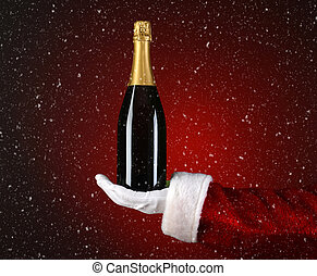 Santa Holding Champagne Bottle in Palm with Snow Effect