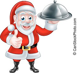 Santa Holding Christmas Dinner