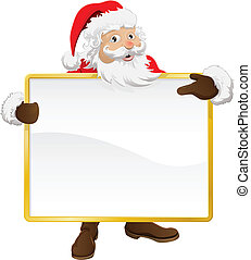 Santa holding Christmas sign and pointing