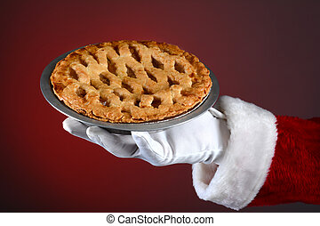Santa Holding Pie Over Red