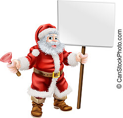 Santa holding plunger and sign - Cartoon illustration of...