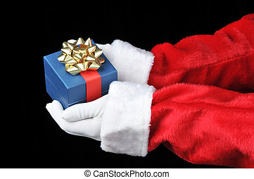 Santa Holding Present in Both Hands