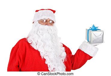 santa holding present
