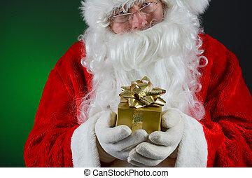 Santa Holding Small Gift