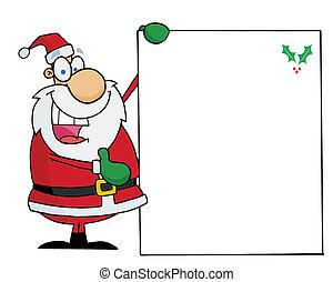 Santa Holding Up A Blank Sign