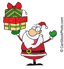 Santa Holding Up A Stack Of Gifts
