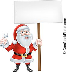 Santa Holding Wrench and Sign