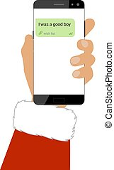 Santa holds a smartphone