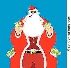 santa, homem, após, antigas, riqueza, work., claus, dinheiro., pocketful, dinheiro., emolument, salário, lote, ano, natal., novo, income., ricos, xmas, fresco