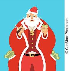 santa, homem, charuto, antigas, riqueza, work., claus, dinheiro., pocketful, dinheiro., emolument, salário, lote, ano, natal., novo, income., ricos, xmas, após, fresco