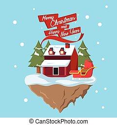 santa house on floating island