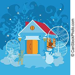 Santa House on winter landscape with snowman