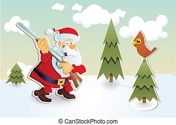 Santa hunter. - Santa hunting. Christmas card.