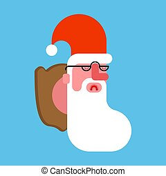 Santa hunting trophy. Claus head on wooden shield. Christmas new year illustration
