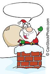 Santa In A Chimney And Waving