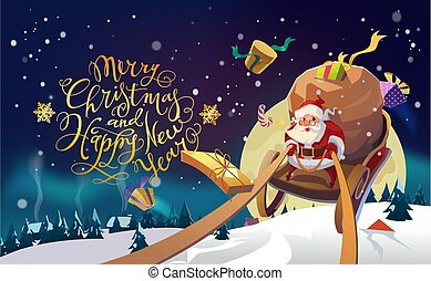 Santa in a Winter village riding on a sleigh in the winter forest. Polar Lights background. Merry Christmas and Happy New Year Lettering. Vector illustration.
