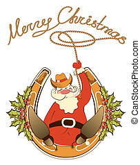 Santa in cowboy shoes and lasso sit on lucky horseshoe. ...