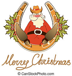 Santa in cowboy shoes sit on lucky horseshoe. Vector isolated on white