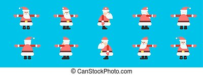 Santa in different directions vector set