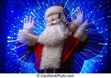 Santa in disco lights - DJ Santa Claus in snowy glasses and...