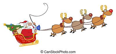 Santa Claus And Team Of Reindeer In His Sleigh Flying