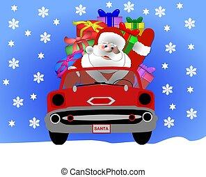 santa in his car