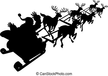Santa in his Christmas sled or sleigh silhouette - Santa in...