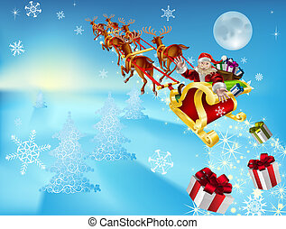 santa in his sleigh - an illustration of santa in his xmas...