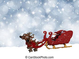 Santa in his sleigh