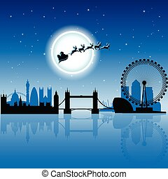 Santa In London over Blue Night Sky Vector Illustration