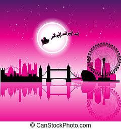 Santa In London over Magenta Night Sky Vector Illustration